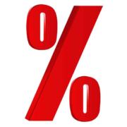 Het procent teken in rood